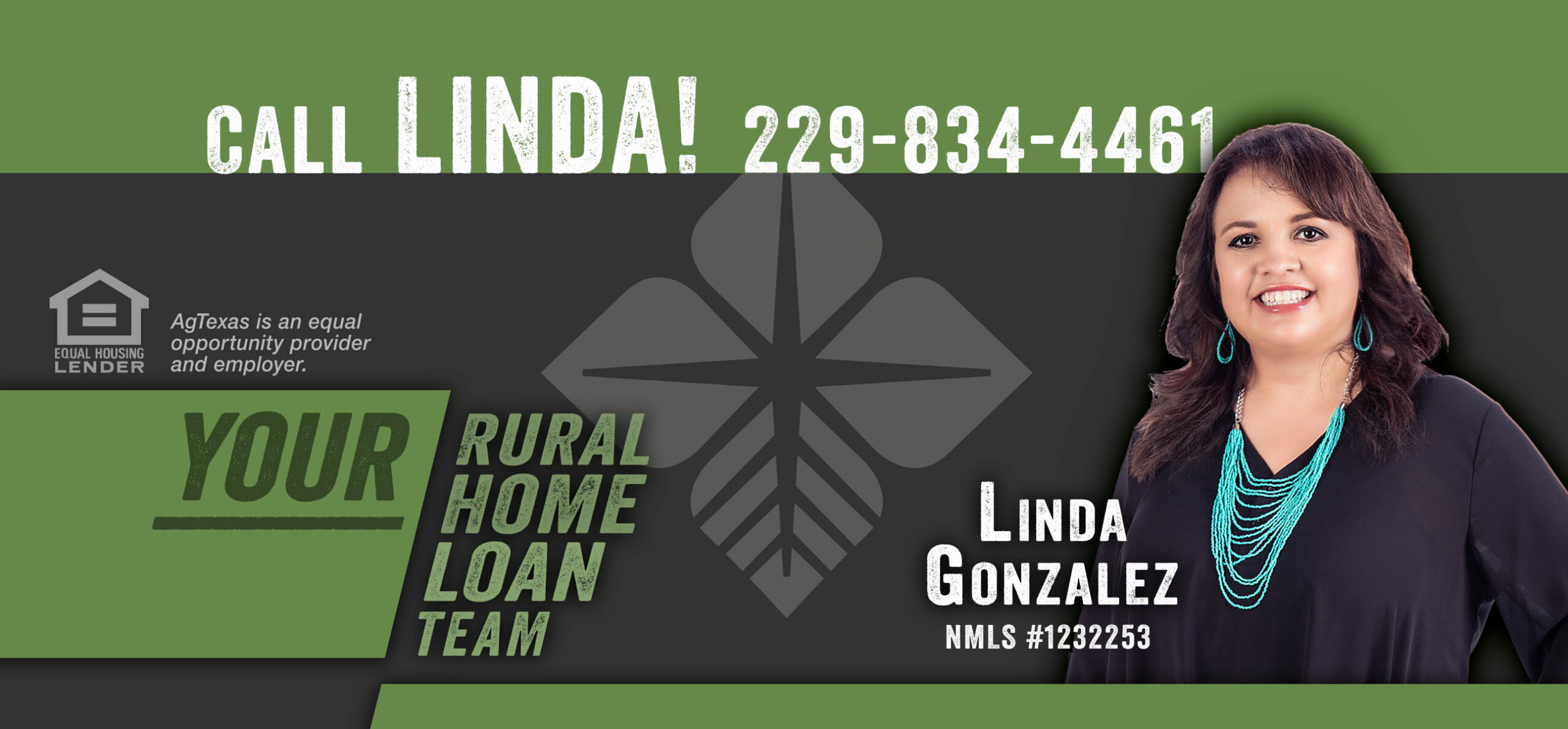 Banner saying to call Linda - picture of Linda wearing black blouse and turquoise jewelry